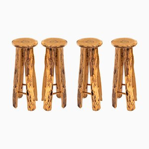 Poplar Bar Stools by Sigvard Nilsson for Söwe, 1960s, Set of 4