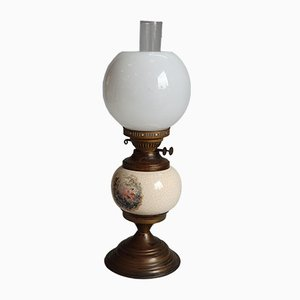 Antique French Brass and Ceramic Table Lamp