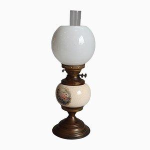 Lámpara de mesa francesa antigua de latón y cerámica