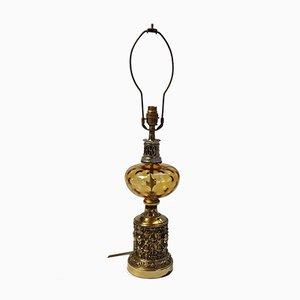 Lámpara de mesa neoclásica antigua de latón y vidrio coloreado