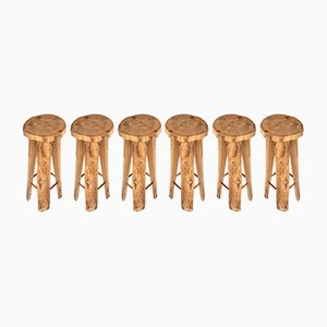 Poplar Stools by Sigvard Nilsson for Söwe, 1960s, Set of 6