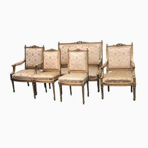 Antike französische Sitzgarnitur mit Holzgestell