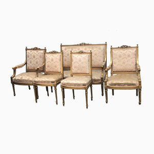 Antique French Wooden Living Room Set
