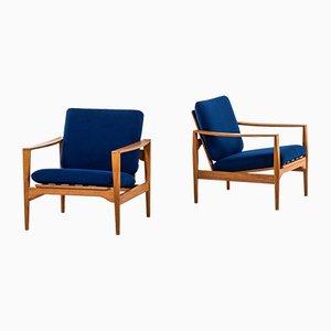 Sillas auxiliares modelo EK danesas de latón, tela y lana de Illum Wikkelsø para Niels Eilersen, años 60. Juego de 2