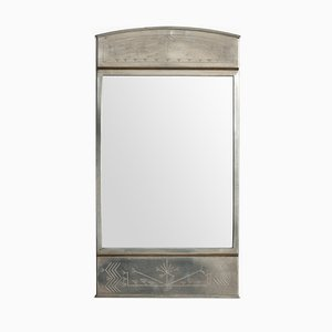 Vintage Swedish Pewter and Brass Mirror from Rudolf Zibell Metallvarufabrik, 1931