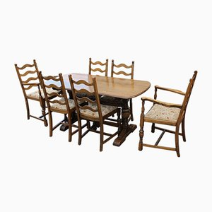 Oak Dining Table & Chairs Set, 1940s