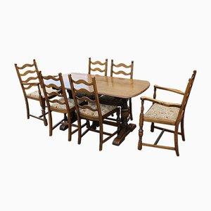 Set aus Esstisch & Stühlen aus Eiche, 1940er