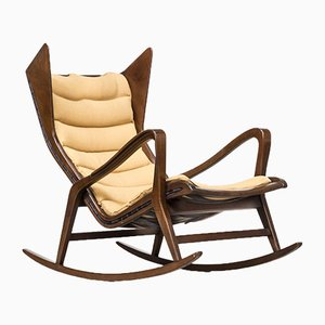 Italian Model 572 Walnut Rocking Chair by Gio Ponti for Cassina, 1950s