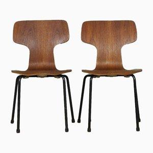 Chaises pour Enfant 3103 Hammer en Hêtre et Teck par Arne Jacobsen pour Fritz Hansen, Danemark, 1960s, Set de 2