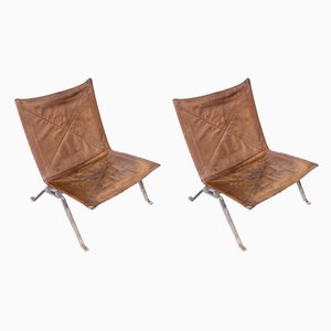 Danish PK22 Leather and Steel Lounge Chairs by Poul Kjærholm for E. Kold Christensen, 1960s, Set of 2