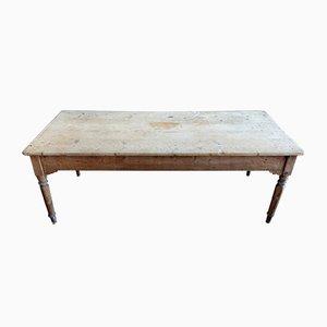 Mesa de comedor italiana antigua de abeto