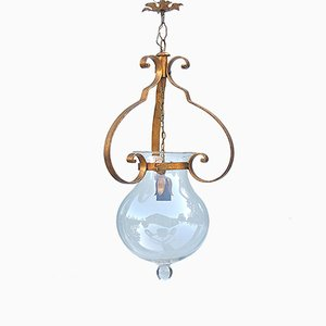 Vintage Italian Glass and Iron Bell Jar Pendant Lamp, 1980s