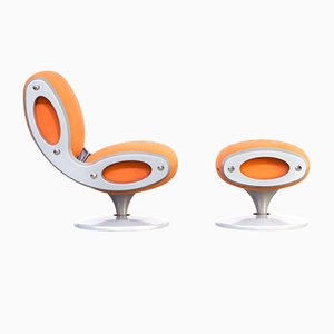 Italian Gluon Swivel Chair and Ottoman by Marc Newson for Moroso, 1990s