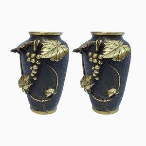 Japanische Weinrebevasen aus Bronze von Murata Seinin, 1930er, 2er Set