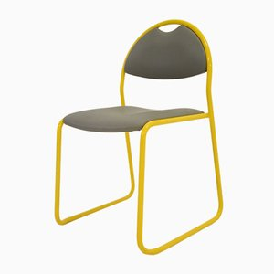 Gold & Grey Leatherette and Metal Dining Chair, 1980s