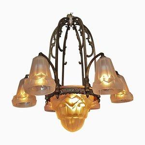 Lámpara de techo Art Déco de Verrerie D'Art Degué, 1925