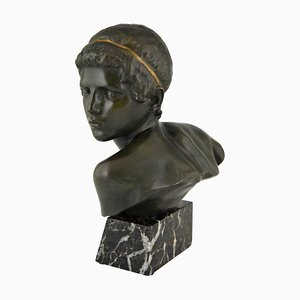 Art Deco Bronze Bust of Achilles by Constant Roux for Les Neveux de Lehmann, 1920