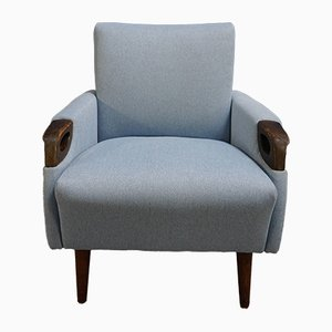 Mid-Century Danish Wood & Light Blue Tweed Lounge Chair, 1960s