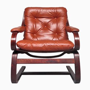 Scandinavian Modern Leather Lounge Chair, 1970s