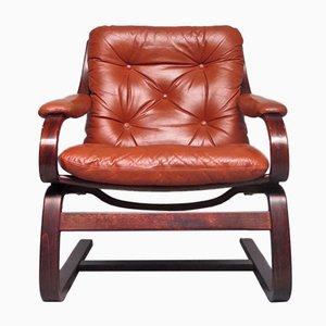 Scandinavian Modern Leather Lounge Chair, 1970s