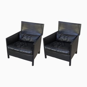 Italian Leather Armchairs from Molteni, 1990s, Set of 2