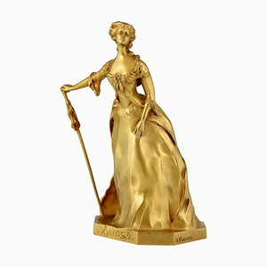 Pariserin-Skulptur im Jugendstil aus vergoldeter Bronze von Henri Frederic Varenne für Susse Freres