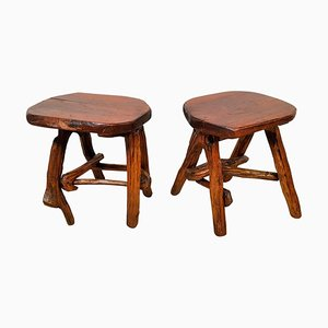 Rustic French Wooden Stools, 1960s, Set of 2