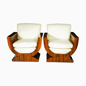 Art Deco French Rosewood Armchairs, 1930s, Set of 2