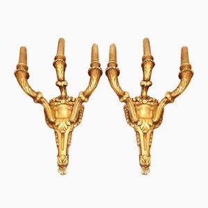 Antike französische Wandleuchte aus Blattgold, 2er Set
