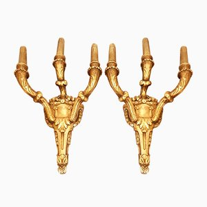 Antique French Gold Leaf Sconces, Set of 2