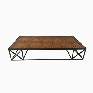 Vintage French Parquetry Coffee Table, 1970s