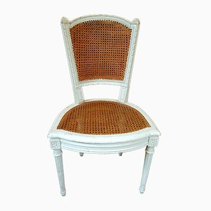 Antike gestrichene französische Esszimmerstühle aus Buche, 2er Set