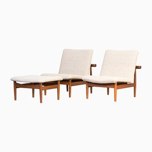 Danish Model 137 Lounge Chair and Ottoman Set by Finn Juhl for France & Søn, 1950s