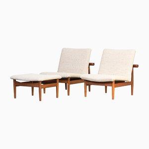 Danish Model 137 Lounge Chair and Ottoman Set by Finn Juhl for France & Søn, 1950s