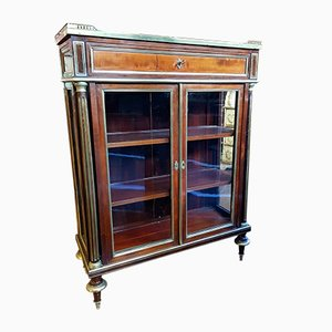 Antique French Brass and Mahogany Cabinets, Set of 2
