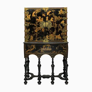 Antique Japanese Black & Gilt Wood Cabinet, 1690s