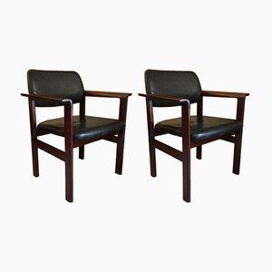 Dänische Armlehnstühle mit Sitz aus Kunstleder & Gestell aus Teak von Sibast, 1960er, 2er Set