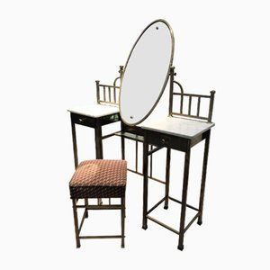 Antique Art Nouveau Dressing Table with Stool