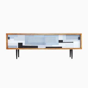 Mid-Century Birch Sideboard with Geometric Pattern, 1960s