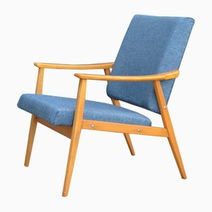 Scandinavian Modern Fabric and Teak Lounge Chairs, 1960s, Set of 2