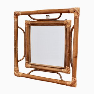 Mid-Century French Indochine-Style Bamboo and Rattan Wall Mirror, 1960s