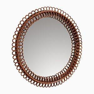 Mid-Century Italian Rattan Round Wall Mirror, 1960s