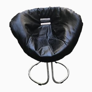 Italian Leather & Metal Lounge Chair by Gastone Rinaldi for Rima, 1970s