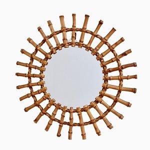 Mid-Century French Bamboo Sunburst Mirror, 1960s