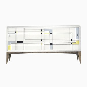 Modern Fuscous Walnut Hand Painted Sideboard, 1960s