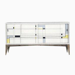 Modernes handbemaltes Sideboard aus Nussholz, 1960er
