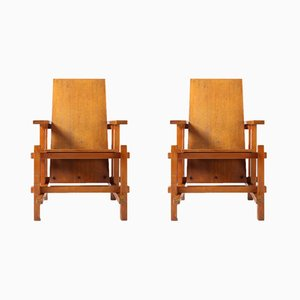 Vintage Modernist Beech Armchairs, 1920s, Set of 2