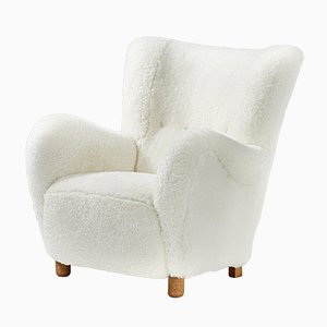 Mid-Century Danish Oak and Sheepskin Armchair, 1940s