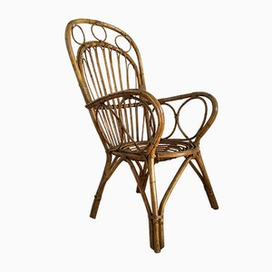 Mid-Century Wicker Lounge Chairs, 1950s, Set of 2