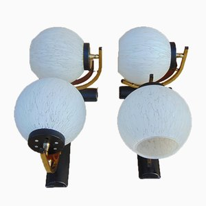 Italian Bentwood and Brass Sconces, 1950s, Set of 4